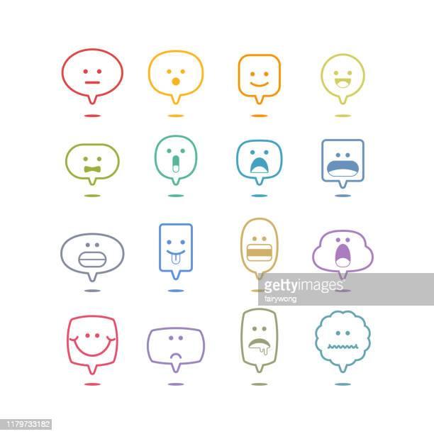 illustrations, cliparts, dessins animés et icônes de collection de base d'émoticônes sur des bulles de parole - satisfaction