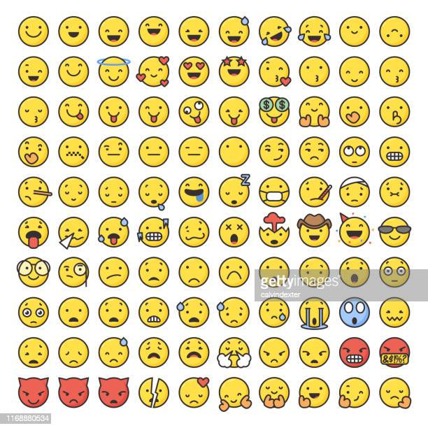 emoticons große sammlung linie kunst und flache farben - sammlung stock-grafiken, -clipart, -cartoons und -symbole
