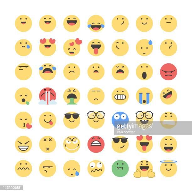 emoticons big collection - emoticon stock illustrations