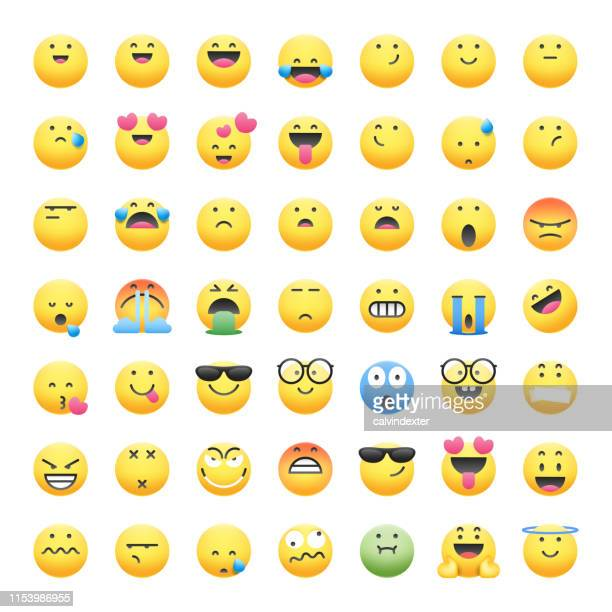 emoticons collection cute and realistic shadows - smiley faces stock illustrations