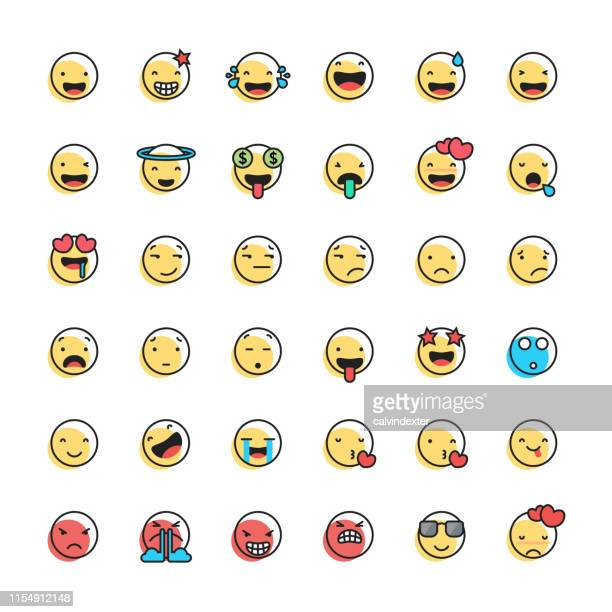 Emoticons collection line art and offset color