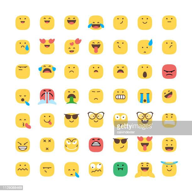 Emoticons collection square shape