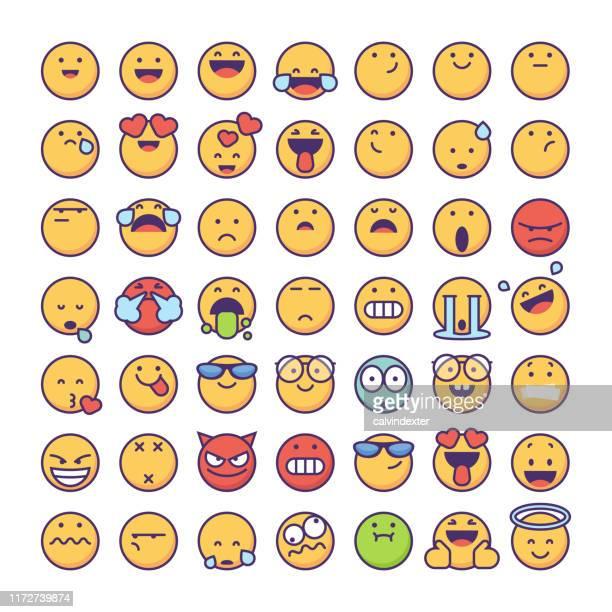 ilustrações de stock, clip art, desenhos animados e ícones de emoticons collection - kawaii