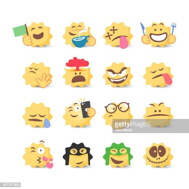 emoticons collection - anthropomorphic foods stock illustrations, clip art, cartoons, & icons