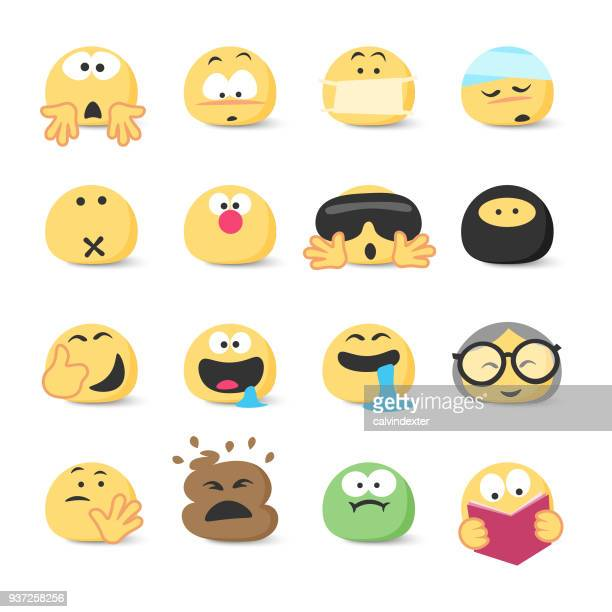 emoticons collection - vomit stock illustrations