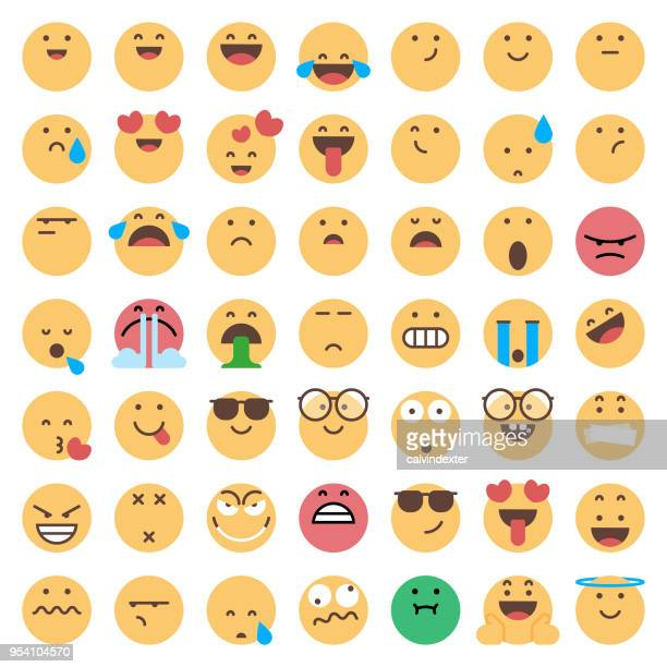 emoticons collection - love emotion stock illustrations