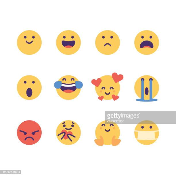 emoticons cute colorful essential pack - facial expression stock illustrations