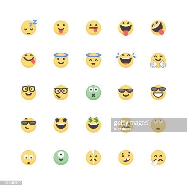 emoticons-niedlich-set 4 - ausdruckslos stock-grafiken, -clipart, -cartoons und -symbole