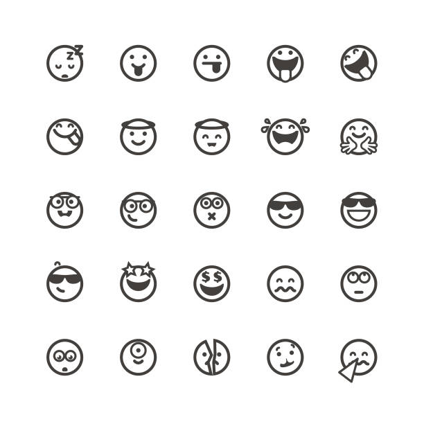 emoticons cute set 4 - cool attitude stock illustrations