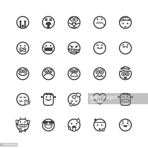 emoticons cute set 5 - stomach pain stock illustrations, clip art, cartoons, & icons