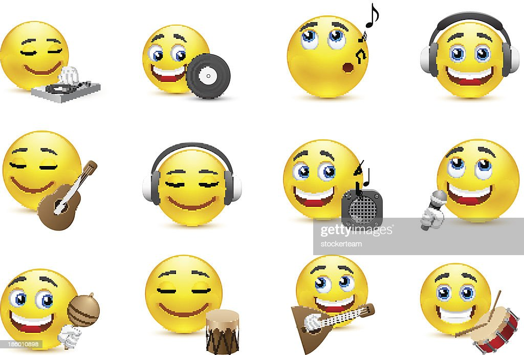 emoticons depicted with various musical instruments