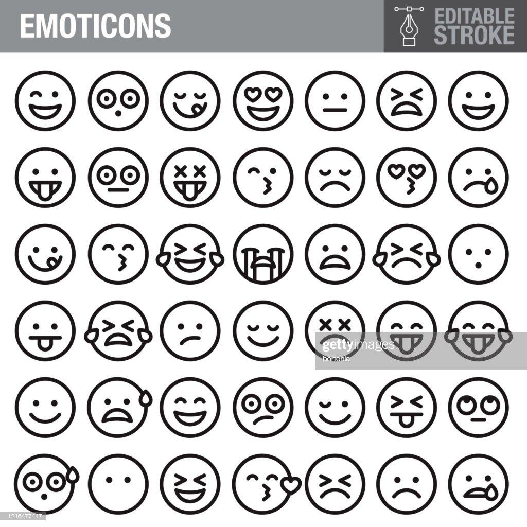 Emoticons Editable Stroke Icon Set : stock illustration