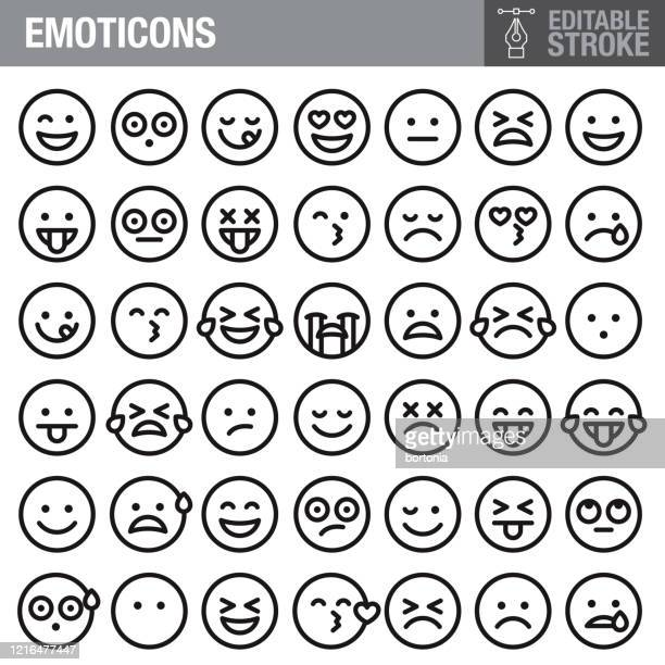 emoticons editable stroke icon set - happiness stock illustrations