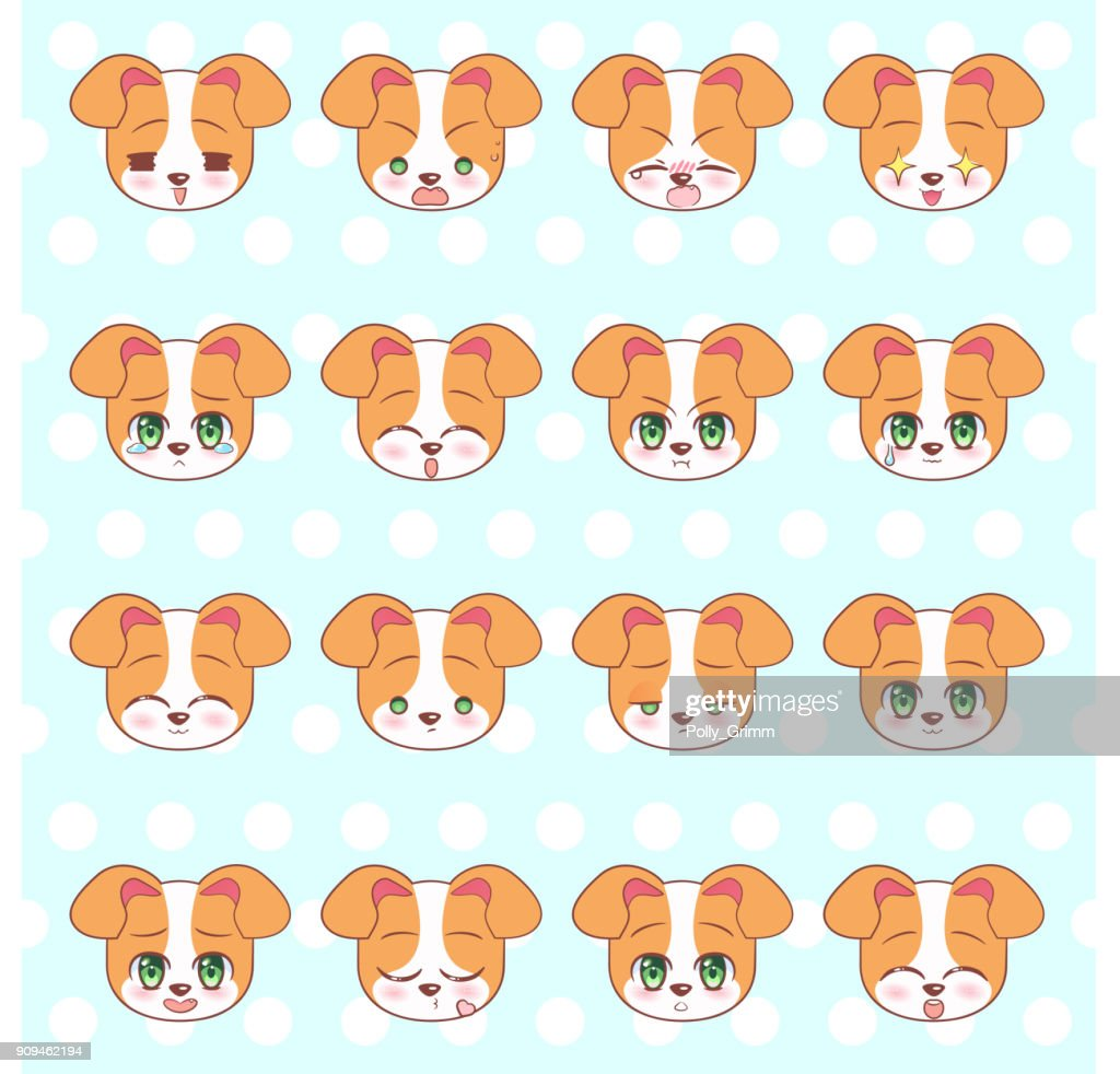 Emoticons, emoji, smiley set, colorful Sweet Kitty Little cute kawaii anime cartoon dog, puppy different emotions mascot sticker Happy, sad, angry, smile, kiss, love Children character colorful vector. Signs, logo illustration, web graphics eps10