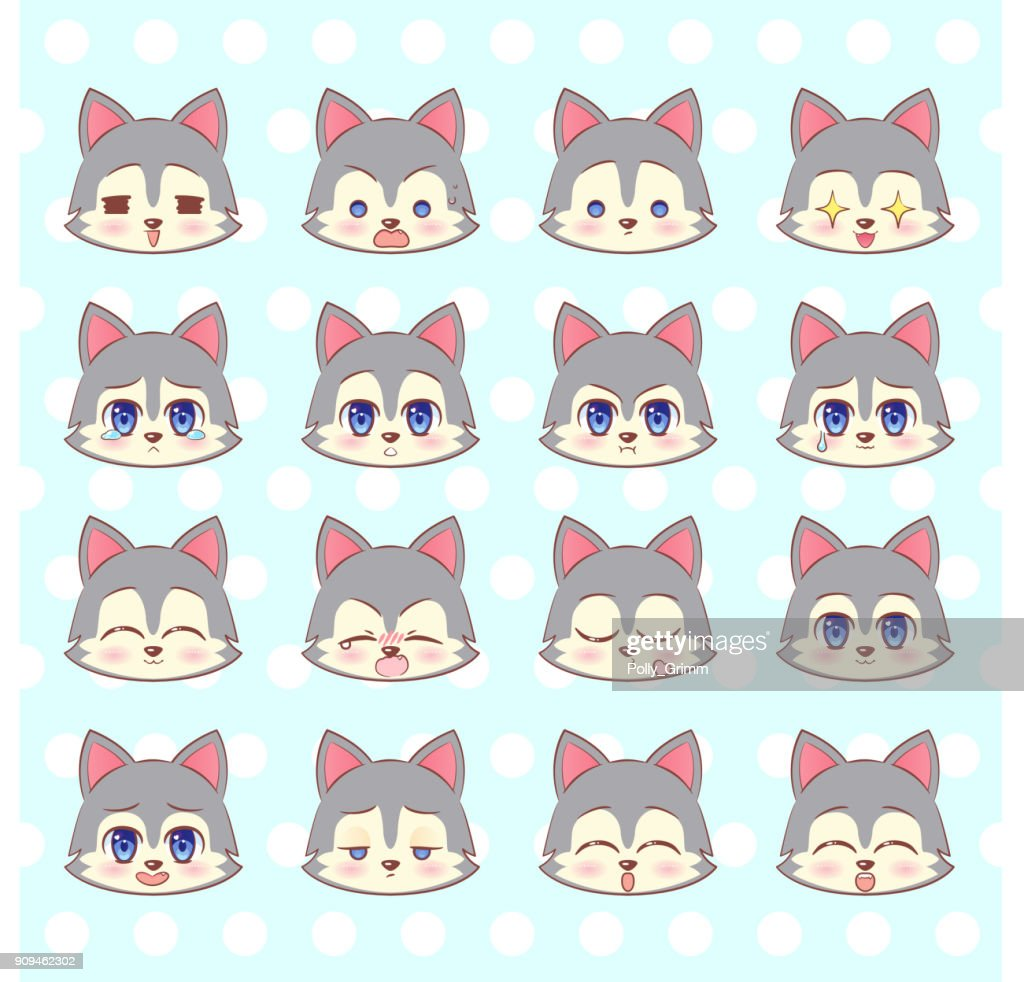 Emoticons, emoji, smiley set, colorful Sweet Kitty Little cute kawaii anime cartoon wolf, puppy l different emotions mascot sticker Happy, sad, angry, smile, kiss, love Children character colorful vector. Signs, logo illustration, web graphics eps10