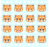 Emoticons, emoji, smiley set, colorful Sweet Kitty Little cute kawaii anime cartoon red panda girl different emotions mascot sticker Happy, sad, angry, smile, kiss, love Children character colorful vector. Signs, logo illustration, web graphics eps10