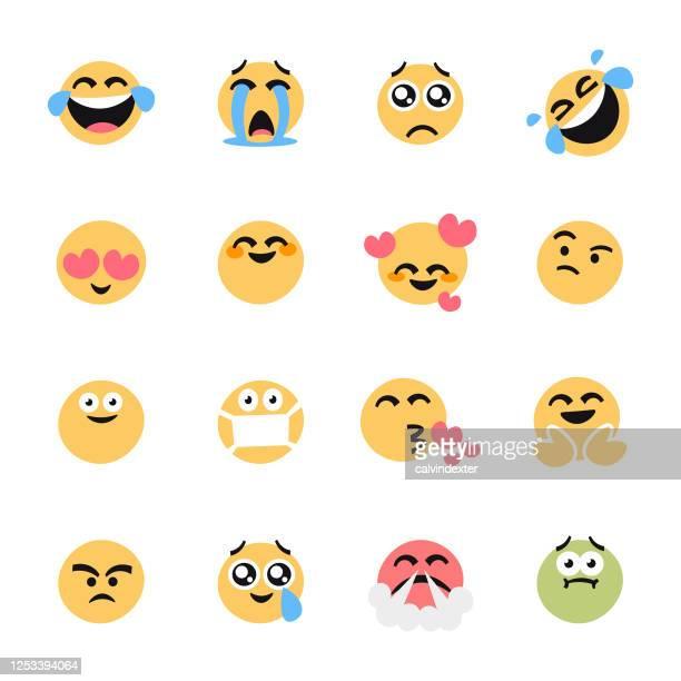 emoticons wesentliche sammlung flache cartoon-stil - sammlung stock-grafiken, -clipart, -cartoons und -symbole