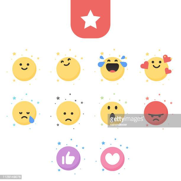 emoticons essential cute collection - enjoyment stock illustrations
