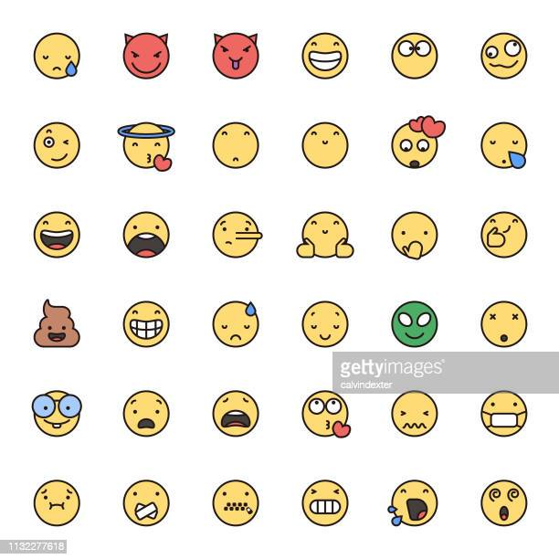 Emoticons flat colors and thin line art set 2