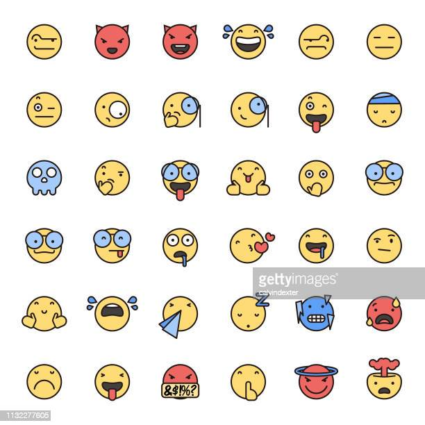 Emoticons flat colors and thin line art set 3