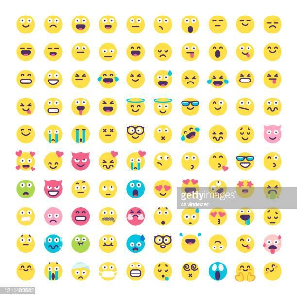 illustrazioni stock, clip art, cartoni animati e icone di tendenza di emoticon design piatto grande collezione - collezione