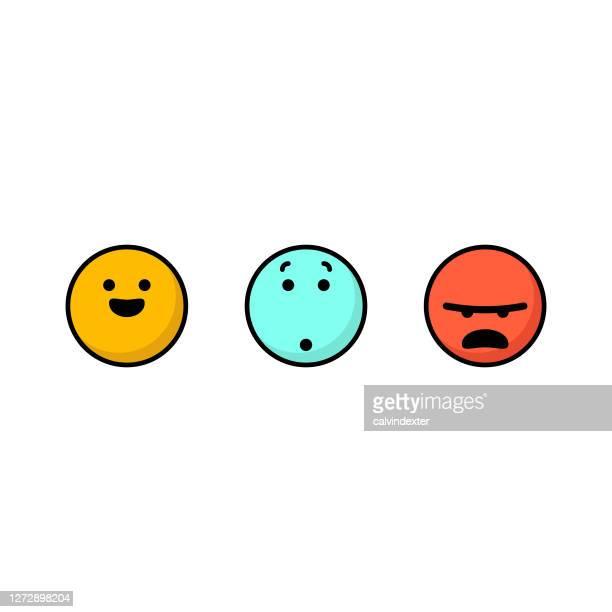 stockillustraties, clipart, cartoons en iconen met emoticons voor feedback van klanten - feedback