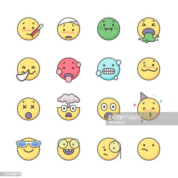 illustrations, cliparts, dessins animés et icônes de ensemble d'icônes d'émoticônes - vomit