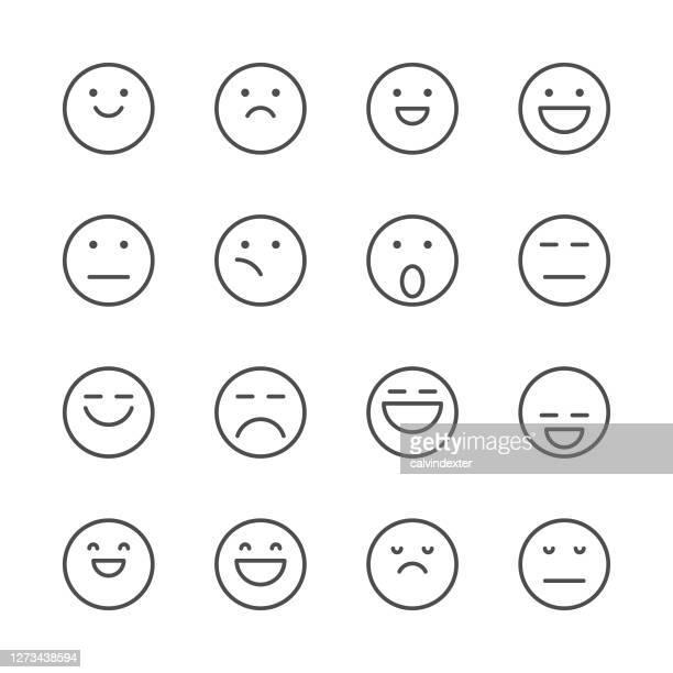 emoticons line art icon set - anthropomorphic stock illustrations