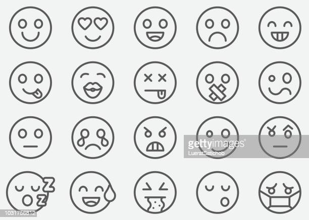 emoticons line icons - joy stock illustrations