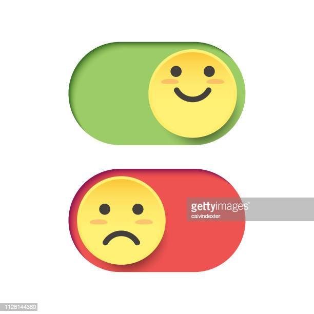 emoticons on a switch - negative emotion stock illustrations