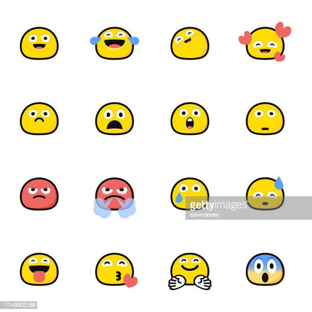 Emoticons pack flat color cartoon style
