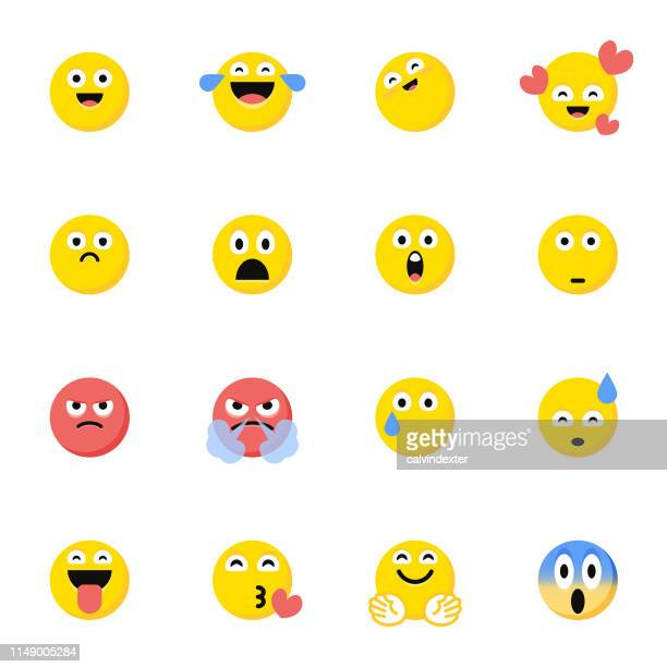 emoticons pack flat color cartoon style - furious stock illustrations