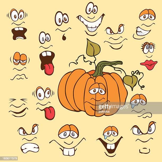 emoticons - pumpkins - sneering stock illustrations, clip art, cartoons, & icons