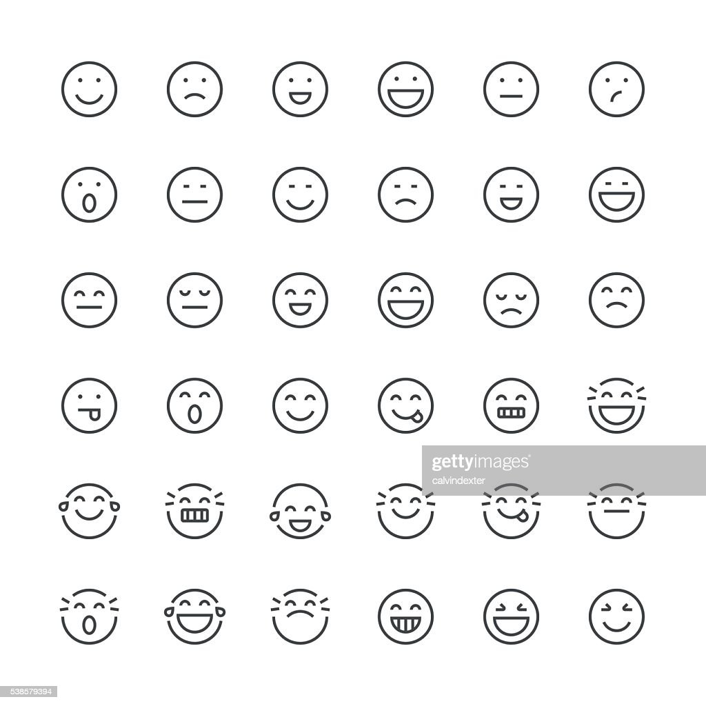 Emoticons set 1 | Thin Line series : Stock Illustration
