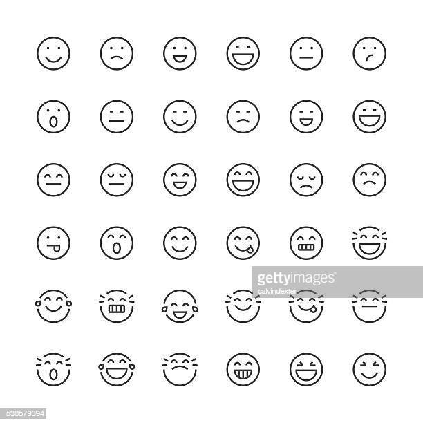stockillustraties, clipart, cartoons en iconen met emoticons set 1 | thin line series - glimlachen