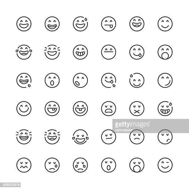 Emoticons set 10 | Thin Line series