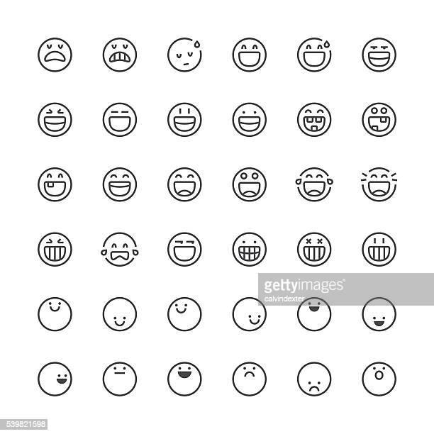 Emoticons-set 11/Thin Linie Serie