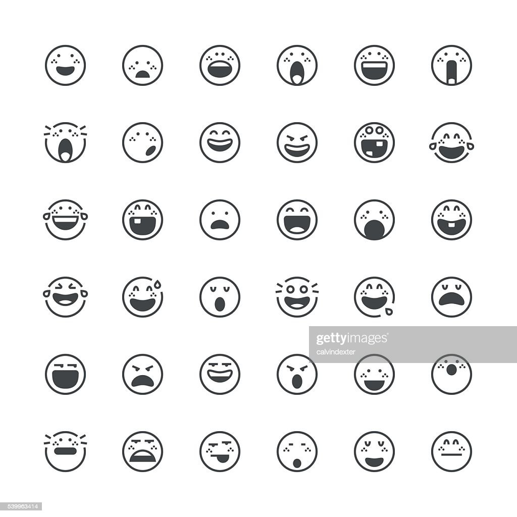 Emoticons set 14   Thin Line series : stock vector