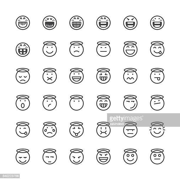 Emoticons-set 15/Thin Linie Serie