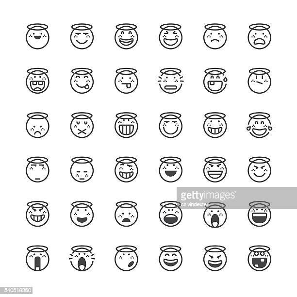 emoticons set 17 | thin line series - anthropomorphic stock illustrations, clip art, cartoons, & icons