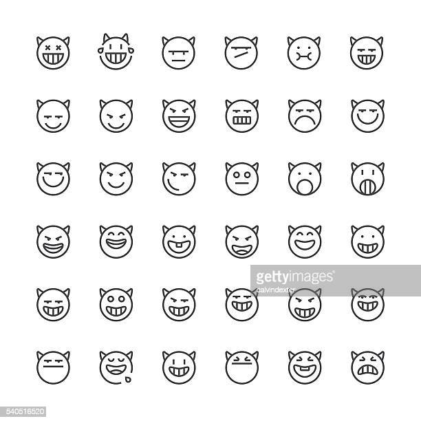 emoticons set 19 | thin line series - devil stock illustrations