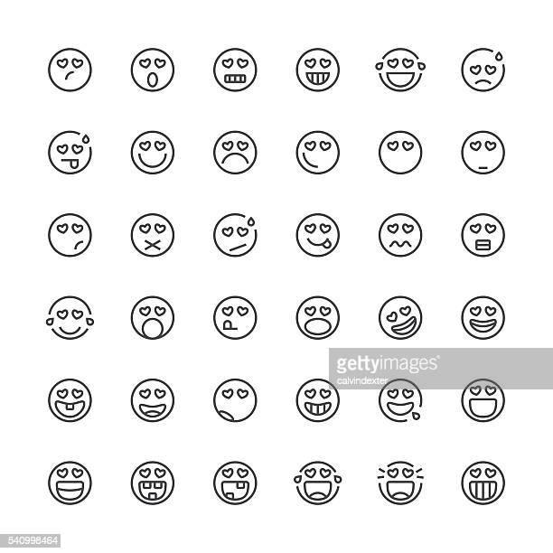 Emoticons de 22/línea fina de la serie