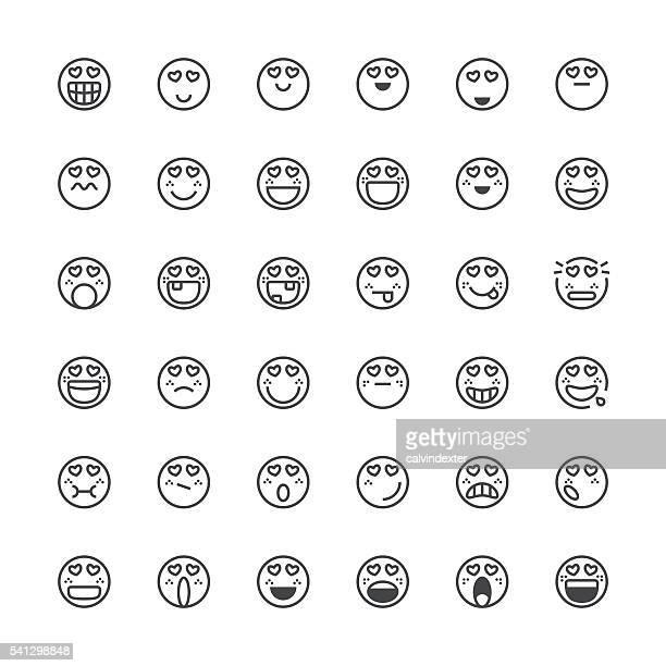 Emoticons de línea fina de la serie 23
