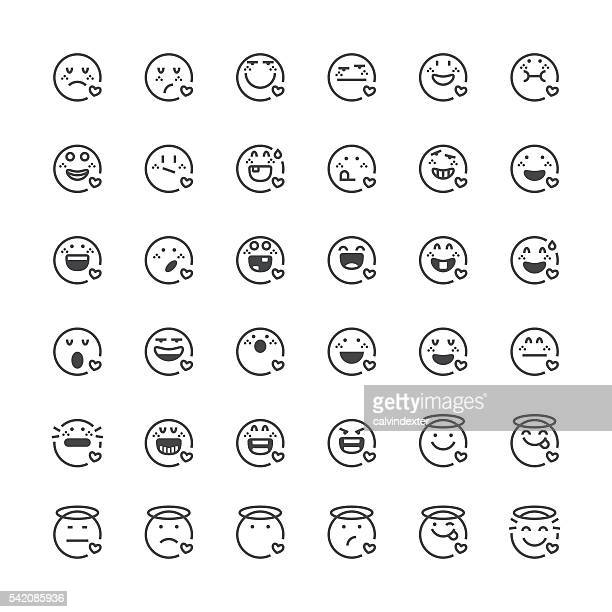 emoticons set 32 | thin line series - relief carving stock illustrations