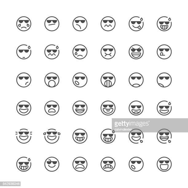 Emoticons mit 37/Thin Line Serie