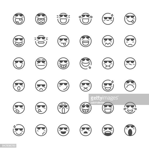 Emoticons set 39 | Thin Line series