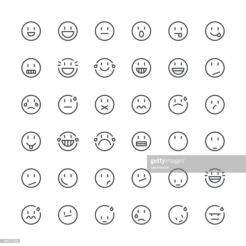 Emoticons set 5 | Thin Line series : stock vector