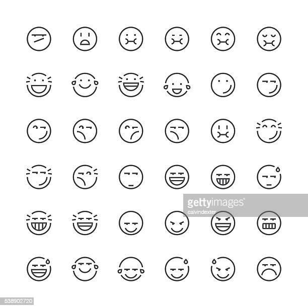 emoticons set 6 | thin line series - evil stock illustrations