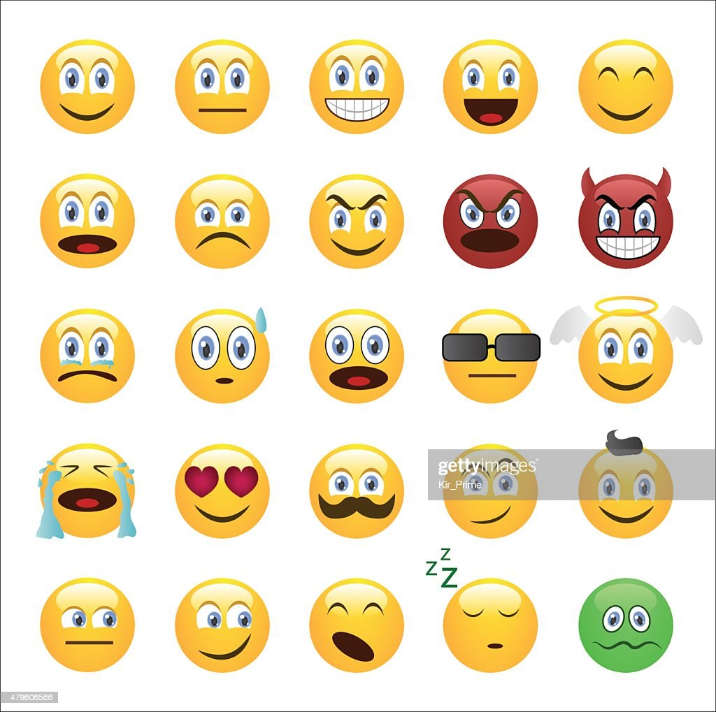 Emoticons set cartoon style