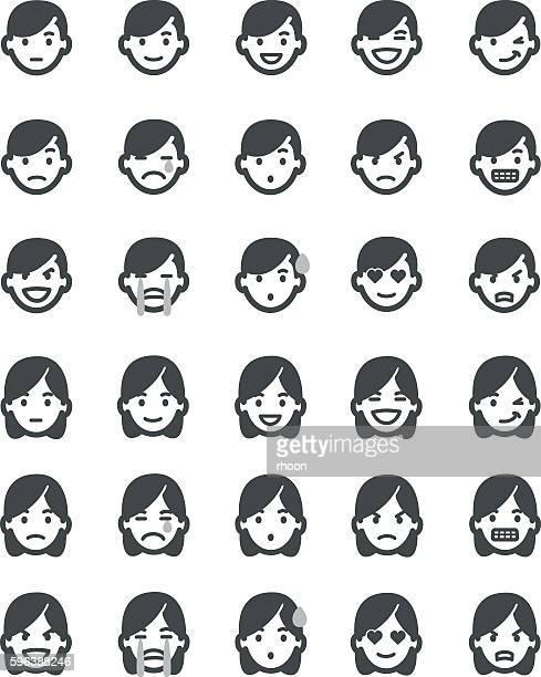 ilustrações, clipart, desenhos animados e ícones de emoticons conjunto homens - relief emotion